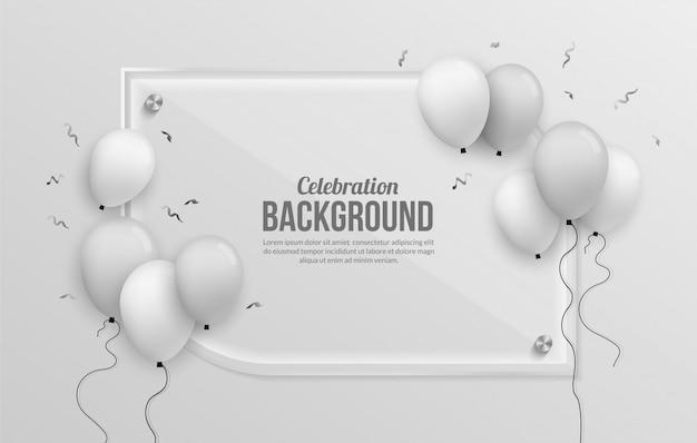 Fond de ballon d'argent premium pour fête d'anniversaire, remise des diplômes, célébration et vacances Vecteur Premium