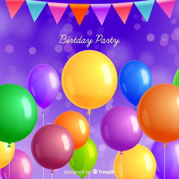 Fond de ballon de fête d'anniversaire réaliste Vecteur gratuit
