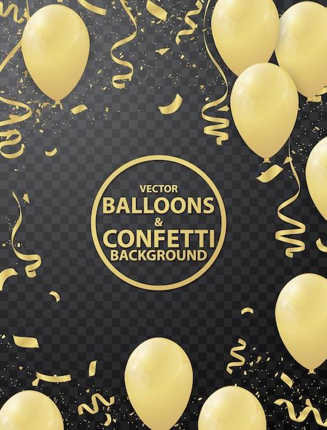 Fond de ballon et ruban d'or Vecteur Premium