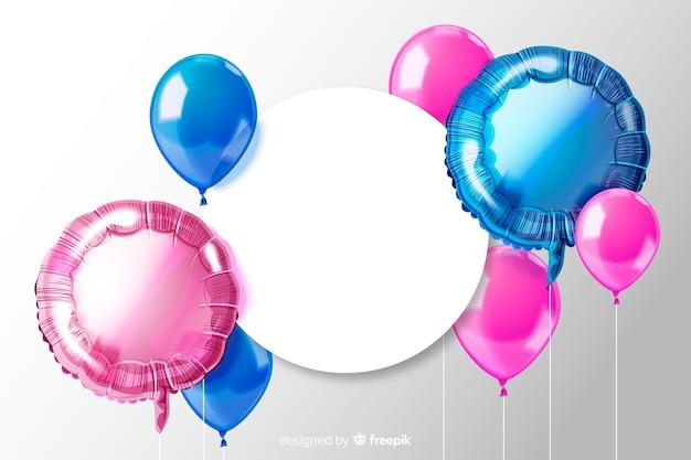 Fond De Ballon Tridimensionnel Brillant Avec Bannière Vierge Vecteur gratuit