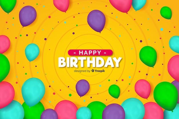 Fond de ballons d'anniversaire coloré Vecteur gratuit