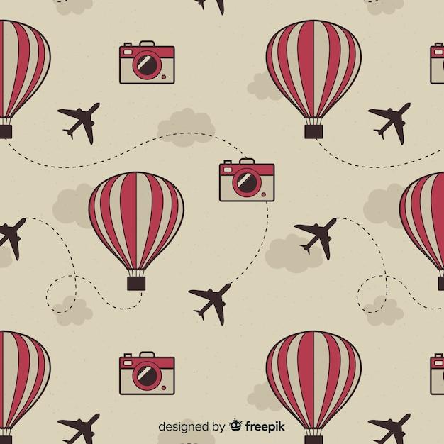 Fond de ballons et avions à air chaud Vecteur gratuit