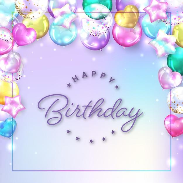 Fond De Ballons Colorés Carrés Pour Carte D'anniversaire Vecteur gratuit