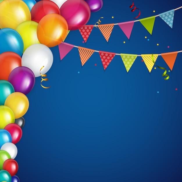 Fond de ballons de couleur brillant joyeux anniversaire Vecteur Premium