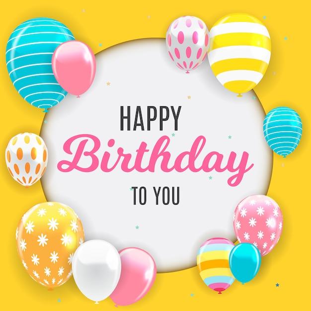 Fond de ballons joyeux anniversaire brillant Vecteur Premium