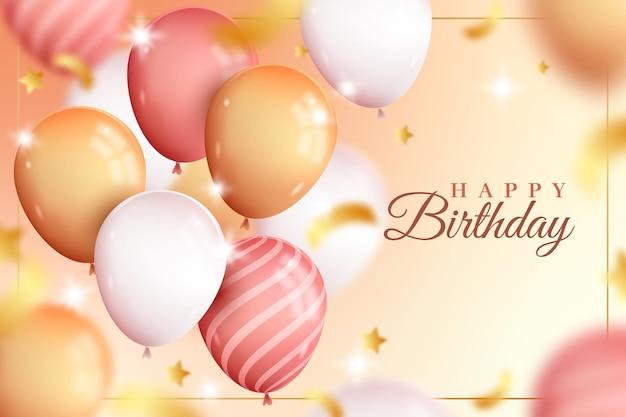 Fond De Ballons Mignon Joyeux Anniversaire Réaliste Vecteur gratuit
