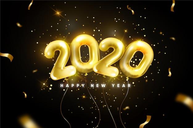 Fond De Ballons Réaliste Nouvel An 2020 Vecteur gratuit