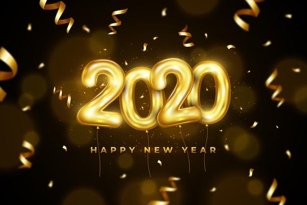 Fond Avec Des Ballons Thématiques Pour Le Nouvel An Vecteur gratuit