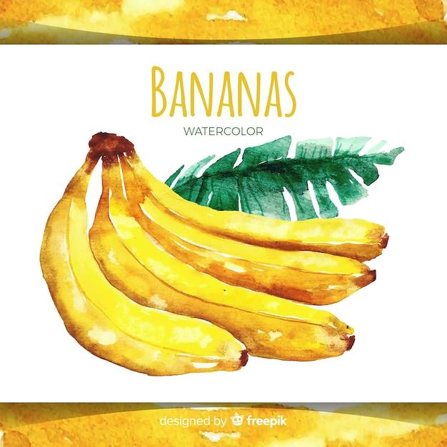 Fond de banane dessiné main aquarelle Vecteur gratuit