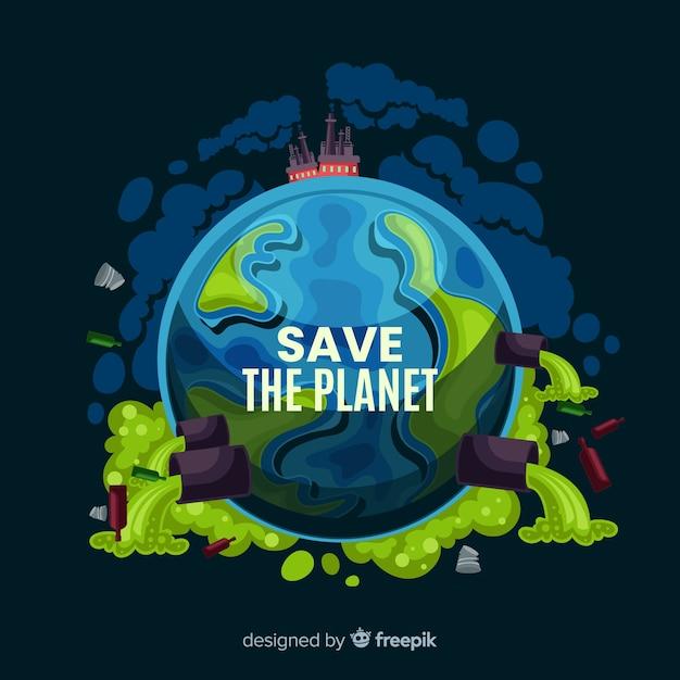 Fond de bande dessinée sale planète terre Vecteur gratuit