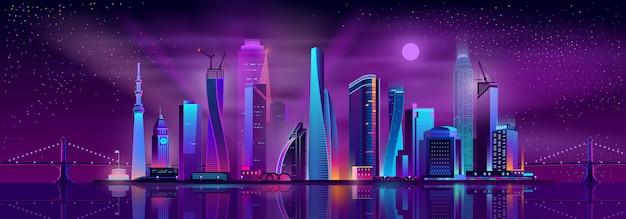 Fond de bande dessinée de la vie nocturne de métropole Vecteur gratuit