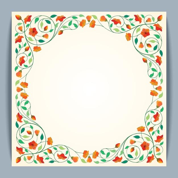 Fond de bannière beau cadre rond vecteur fleur Vecteur Premium