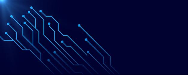 Fond de bannière bleu circuit numérique avec espace de texte Vecteur gratuit