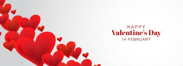 Fond De Bannière De Coeurs Décoratifs Carte Happy Valentines Day Vecteur gratuit
