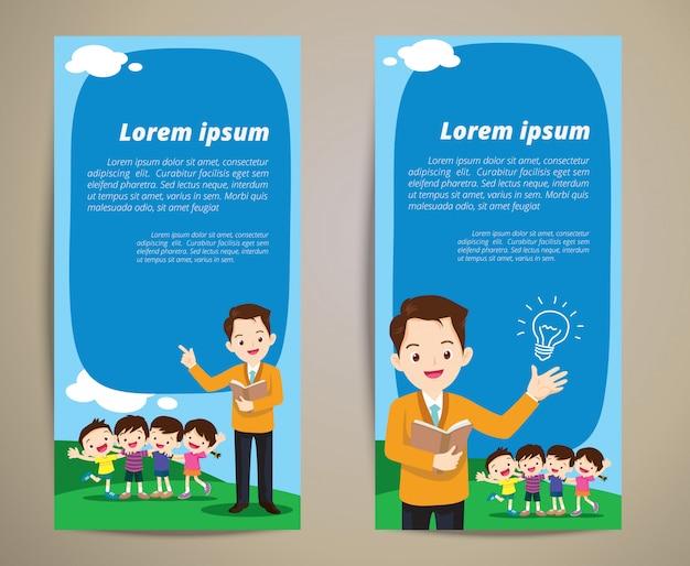 Fond de bannière éducation enseignant enfants Vecteur Premium