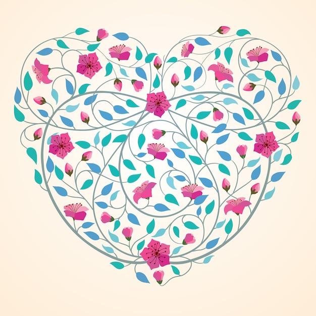 Fond de bannière de fleur icône coeur amour rétro Vecteur Premium