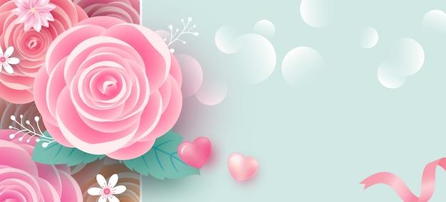 Fond de bannière de fleurs roses pour la saint-valentin Vecteur Premium
