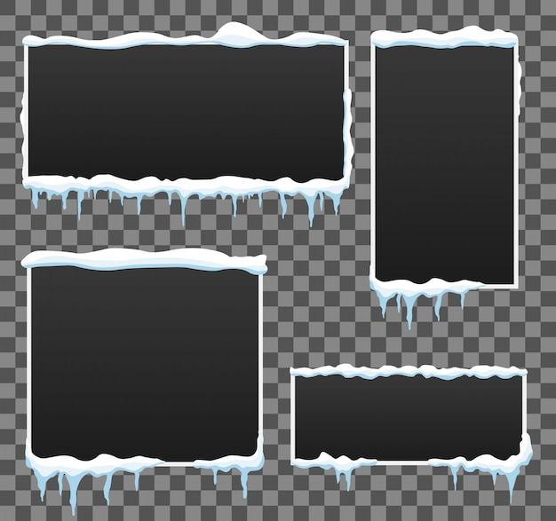 Fond de bannière hiver glaçon. tas de neige. Vecteur Premium