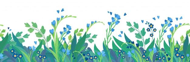 Fond De Bannière Horizontale Floral Modèle Plat. Vecteur Premium