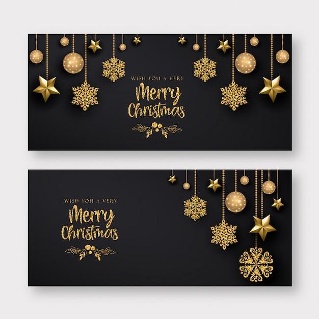 Fond de bannière de joyeux noël noir et doré Vecteur Premium