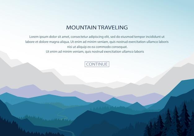 Fond De Bannière De Paysage De Montagne Vecteur Premium