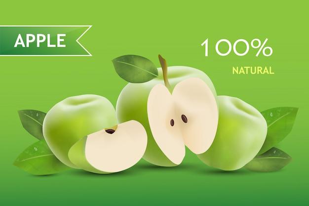 Fond De Bannière De Pommes Vertes Réaliste Vecteur Premium