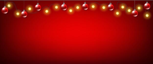 Fond De Bannière Rouge De Noël Vecteur Premium