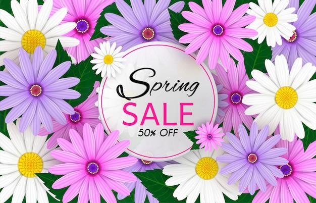 Fond de bannière de vente de printemps Vecteur Premium