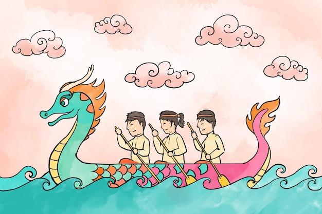 Fond De Bateau Dragon Aquarelle Vecteur gratuit