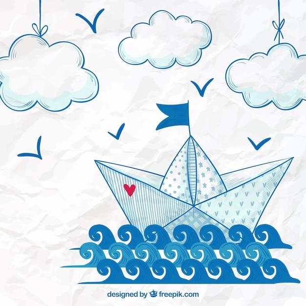 Fond de bateau à papier tiré à la main Vecteur gratuit