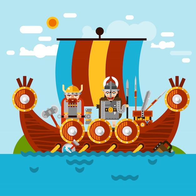 Fond de bateau viking Vecteur gratuit