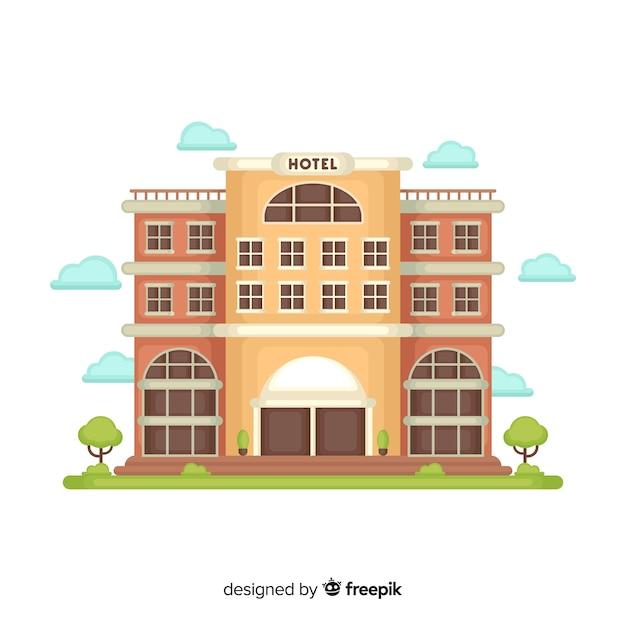 Fond de bâtiment hôtel plat Vecteur gratuit