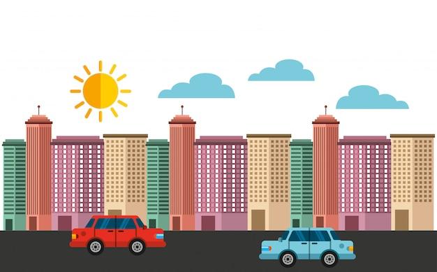 Fond de bâtiments bâtiments urbains Vecteur Premium