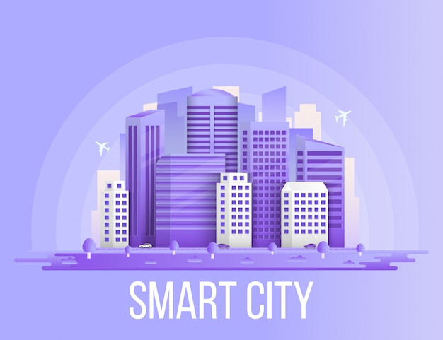 Fond de bâtiments ville intelligente paysage urbain. Vecteur Premium