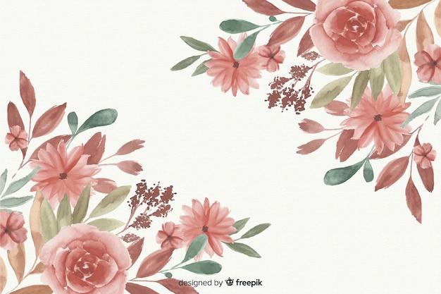 Fond de beau cadre floral aquarelle Vecteur gratuit