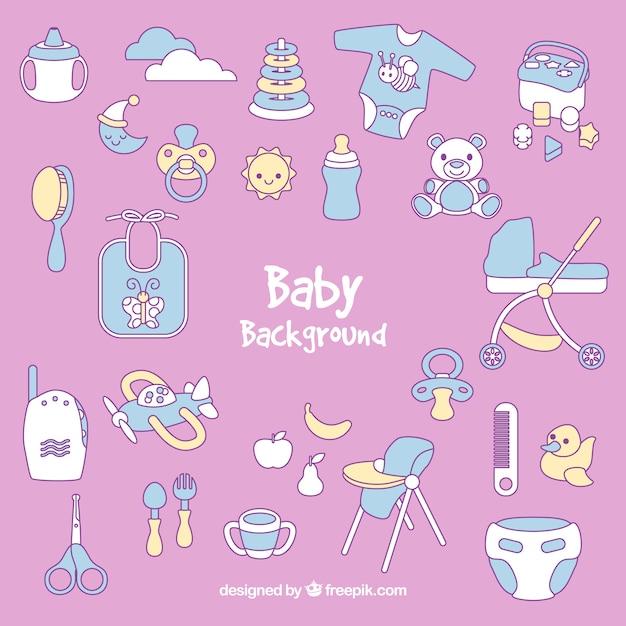 Fond de bébé avec des éléments mignons Vecteur gratuit