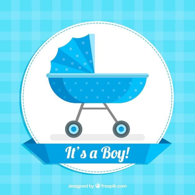 Fond de bébé garçon dans un style plat Vecteur gratuit