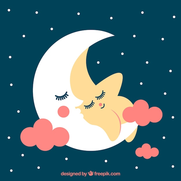 Fond Belle étoile Au Repos Avec La Lune Vecteur gratuit