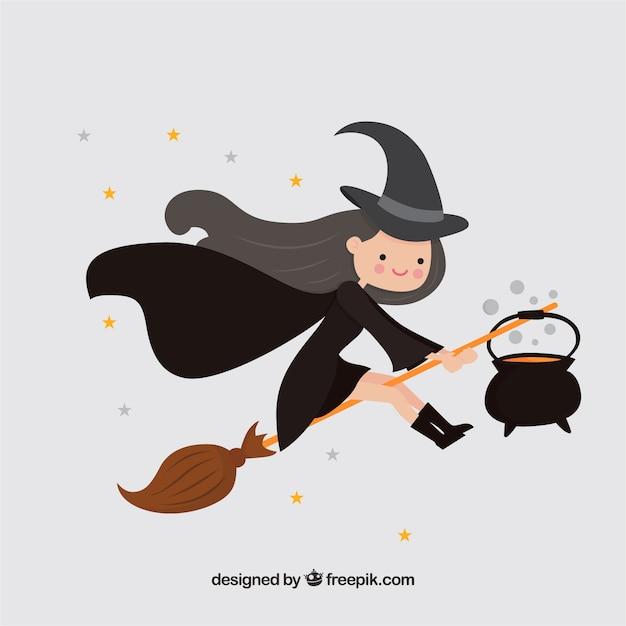 Fond d'une belle sorcière avec du chaudron et du balai Vecteur gratuit