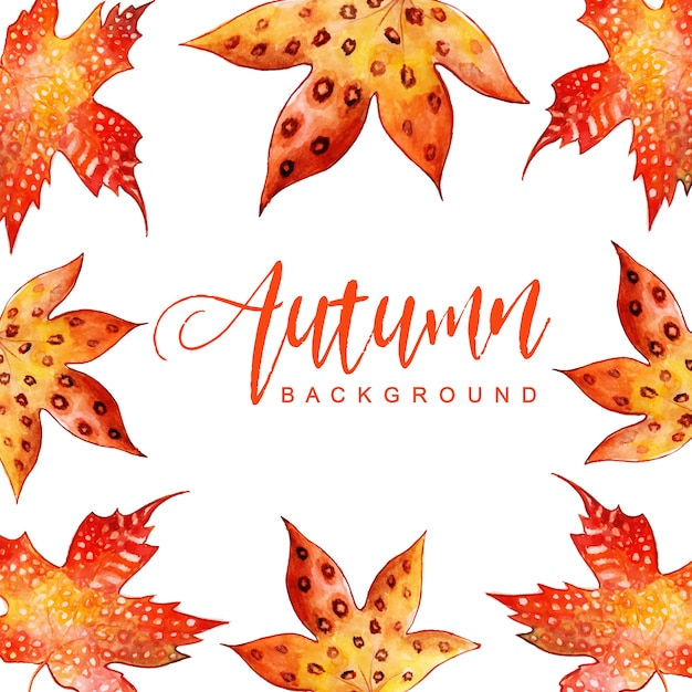 Fond de belles feuilles d'automne aquarelle Vecteur gratuit