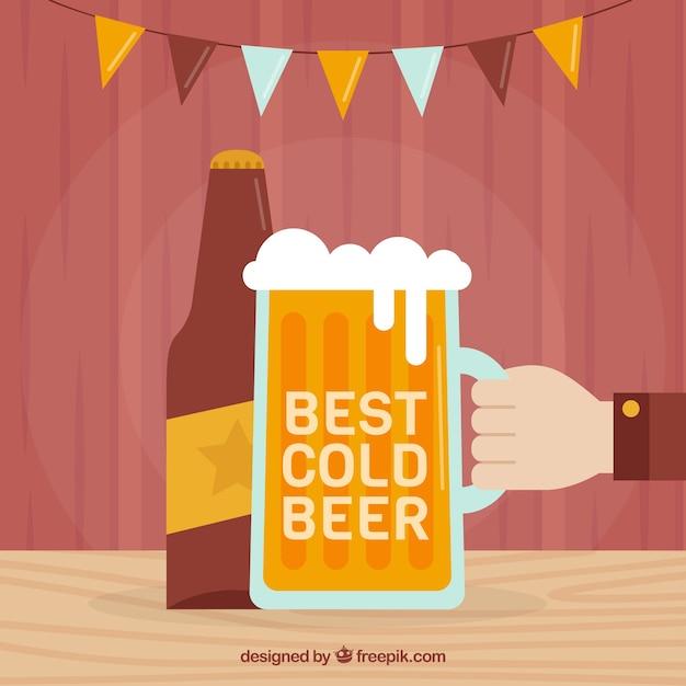 Fond De Bière Dans Un Style Plat Vecteur gratuit
