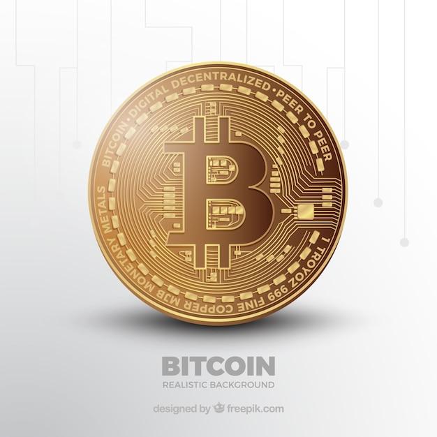 Fond De Bitcoin Avec Pièce Brillante Vecteur Premium
