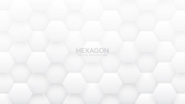 Fond Blanc Abstrait Hexagonal Vecteur Premium