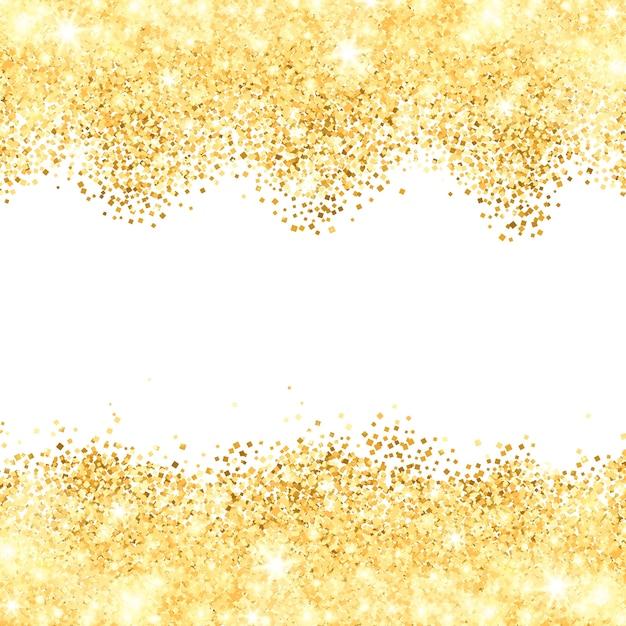 Fond blanc avec bordures de poussière dorées Vecteur gratuit