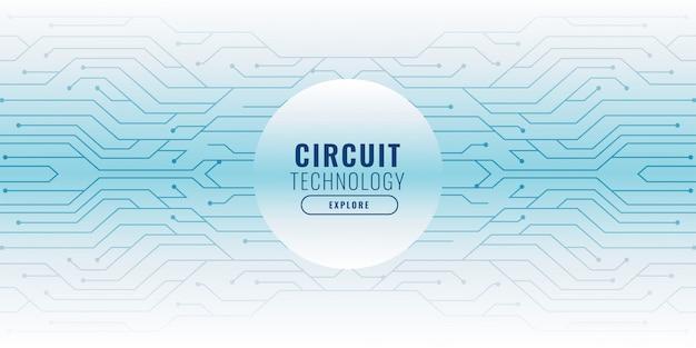 Fond blanc avec bannière de technologie de lignes de circuit Vecteur gratuit