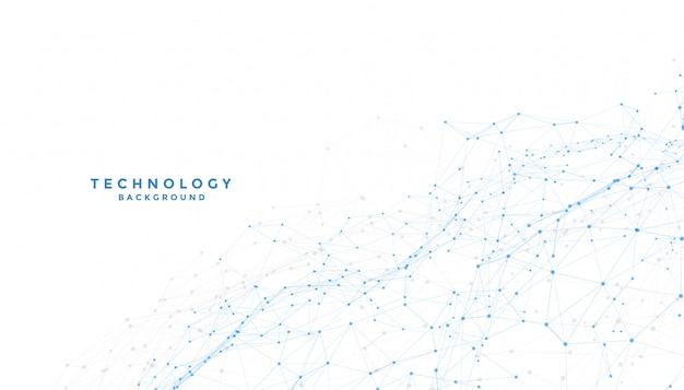 Fond Blanc Avec Connexion De Lignes Numériques Low Poly Vecteur gratuit