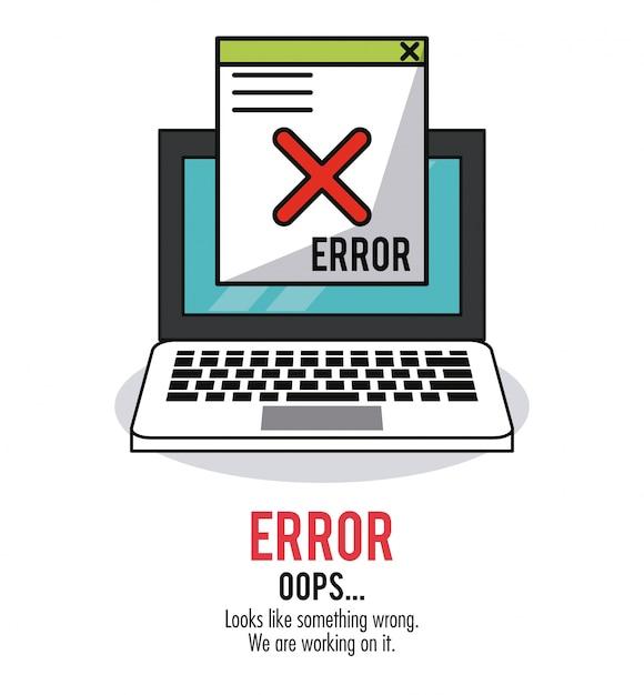 Fond blanc avec erreur de message d'ordinateur portable et de fenêtre Vecteur Premium