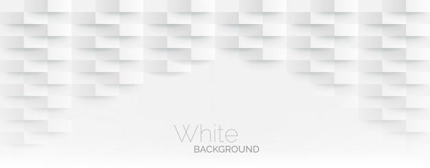 Fond Blanc De Mosaïque De Coins De Papier Blanc Futuriste. Texture De Rectangle De Maille Géométrique Réaliste. Fond D'écran Blanc Abstrait Avec Grille Hexagonale Vecteur Premium