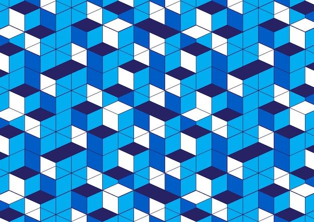 Fond blanc motif géométrique bleu Vecteur Premium