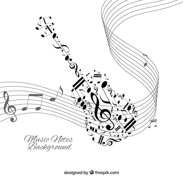 Fond Blanc Avec Notes De Musique Noire Télécharger Des Vecteurs